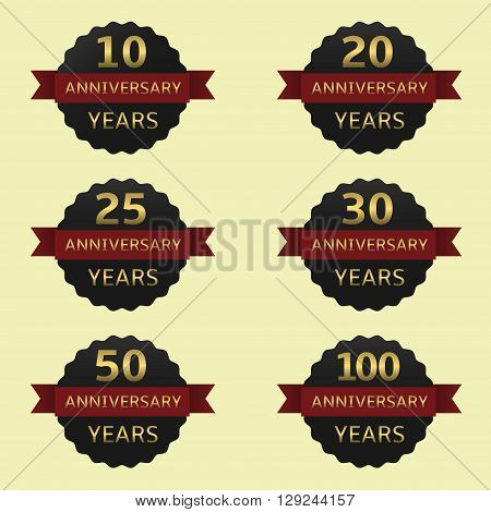 Anniversary years label set. Black labels with red ribbons