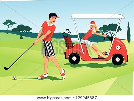 A young couple at the golf course