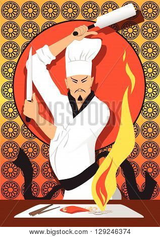 Japanese chef cooking on a grill, EPS8 vector illustration