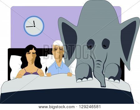Erectile dysfunction is like an elephant in the bedroom, EPS8 vector cartoon