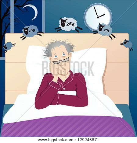 Middle aged man with insomnia counting sheep