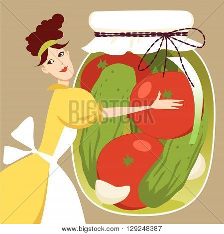 A woman holding a giant jar with pickled vegetables