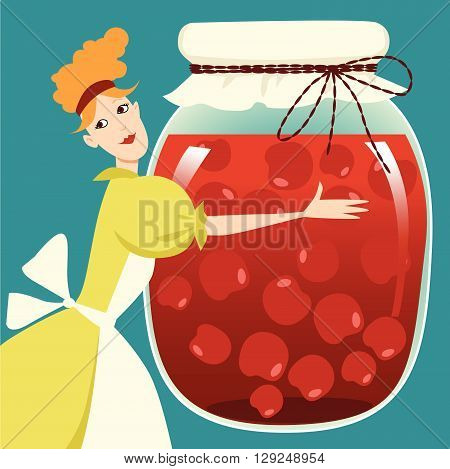A woman holding a giant jar of fruit preserves