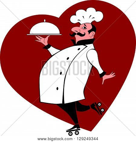 Cartoon chef on roller skates carrying a platter
