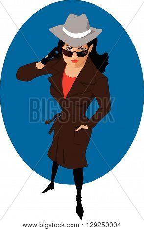 Secret Agent Woman in Sunglasses, EPS8 vector illustration