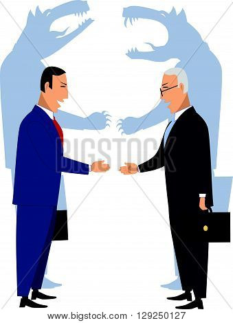 Deceiving businessmen shaking hands EPS8 vector illustration