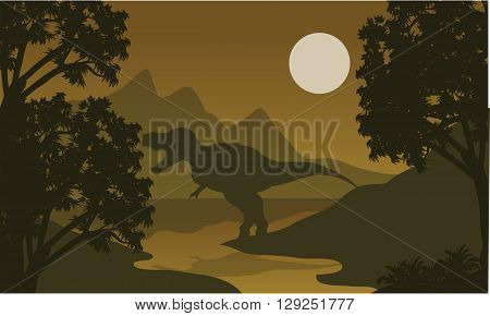 One T-Rex in riverbank silhouette of scenery