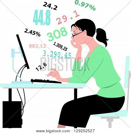 Doing taxes, crunching numbers on a white background
