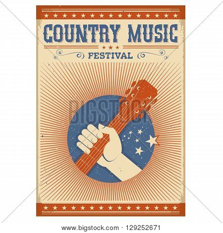 Music Festival Background With Guitar And Hand.vector Isolated Poster On White