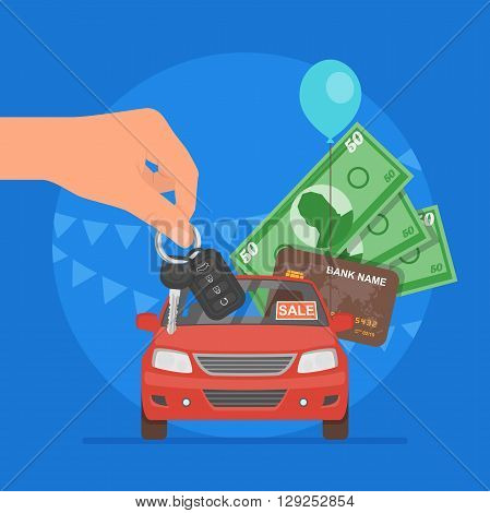 Car sale vector illustration. Customer buying car from dealer concept. Salesman giving key to new owner. Hand holding money.
