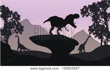 Silhouettte of baby Brachiosaurus and T-Rex in the hills
