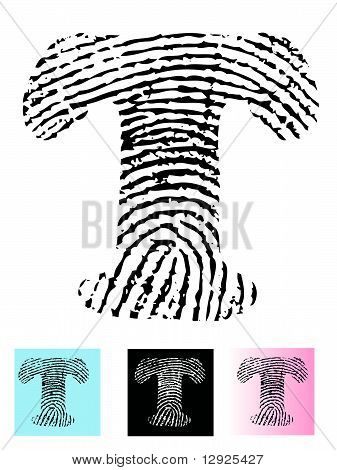 Fingerprint Alphabet Letter T