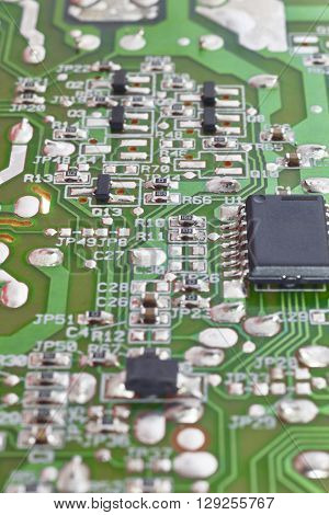 Electronic integrated circuitry macro detail. Technology background. Vertical