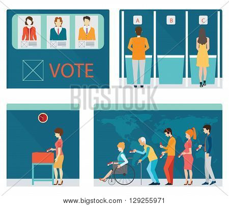 Info graphic of Voting booths with people waiting in line for Voting at Ballot Box Vote ballot with boxeach layers separated easy to use. vector illustration.