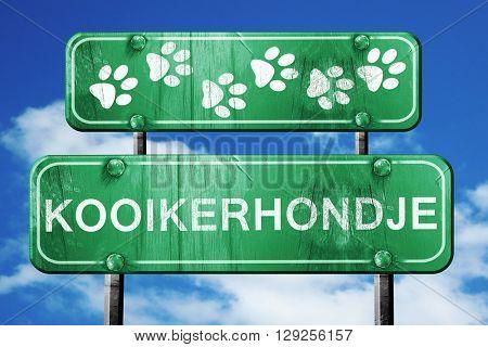 Kooikerhondje, 3D rendering, rough green sign with smooth lines