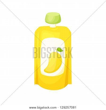 Mango juice package. Fruit mango purees. Healthy fruit purees snack in packaging. Fruit juise in packing. Mango juice in pack. Baby food. Drink fruit purees.Mango jam.
