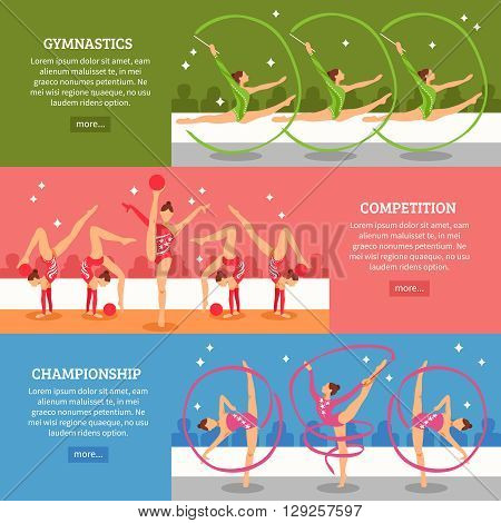 Art gymnastics horizontal banners with collection of female athletes participating in competitions and championship flat vector illustration