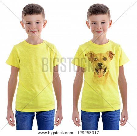 T-shirt design concept - boy in blank t-shirt and boy in t-shirt with print of his dog