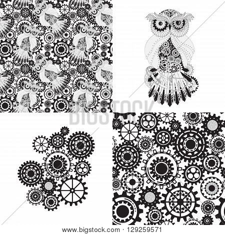 Black gears, steampunk seamless pattern. Steampunk outline owl with gear. Metallic steam punk owl. Set of steampunk seamless gear and owl pattern, abstract steampunk owl and gears.