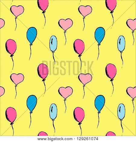 Hand drawn vintage vector set of bright balloons.
