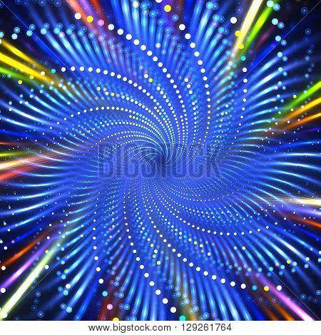Abstract blue swirl on black background . Illustration