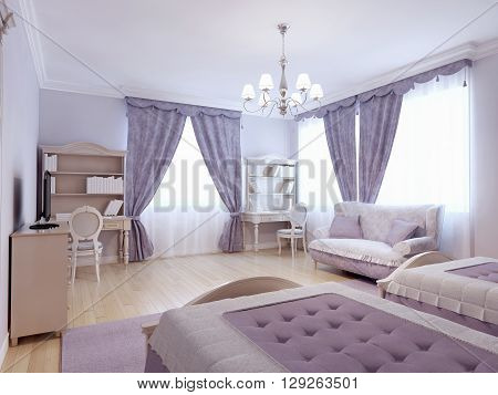 Children bedroom neoclassical style. Luxury furniture in puple and beige colors in bedroom with light laminate flooring. 3D render