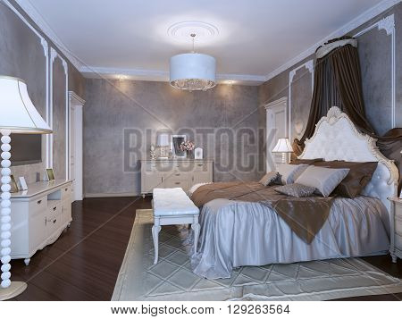 Bedchamber classic style in dark brown and medium taupe colors. Cream and white furniture. 3D render