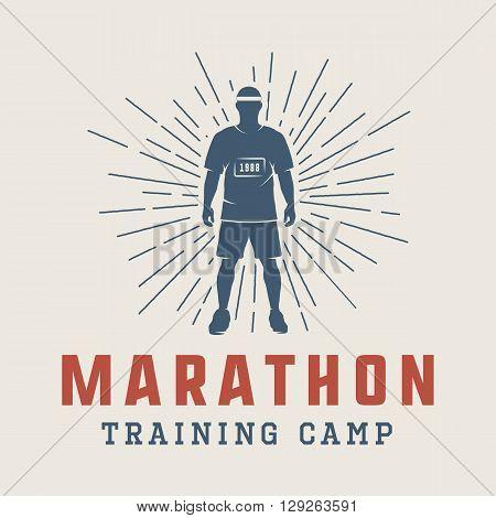 Vintage marathon or run logo emblem badge poster print or label. Vector Illustration.