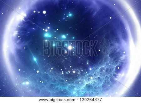Space background with blue ring nebula and stars