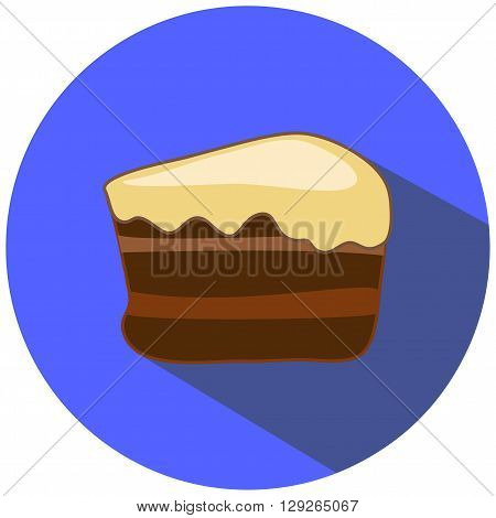 Cake piece with cream topper vector illustration in flat style, chocolate pie with vanilla cream, hand-drawn pastry