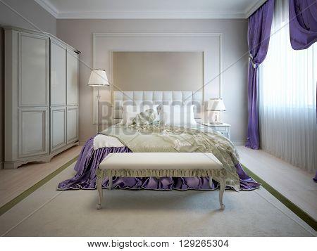 Luxury interior of art deco bedroom with beige walls. 3D render