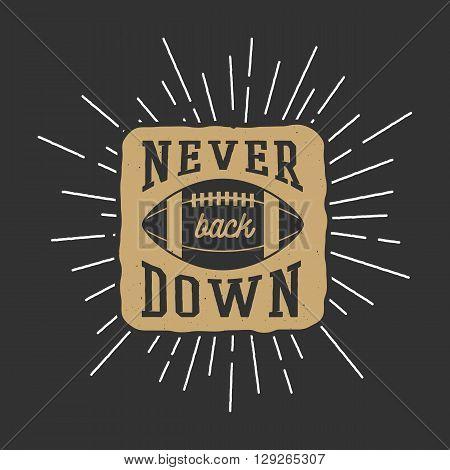 Vintage rugby and american football label emblem or logo. Graphic Design. Illustration