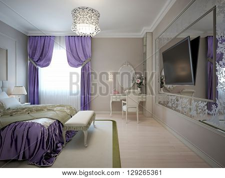 Luxury master bedroom with large patterned mirror on the wall. 3D render