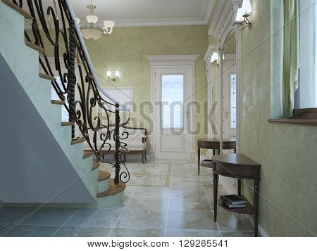 Entrance hall classic style with stairs. Light olive color walls of textured plaster. Furniture of mahogany marble tile flooring. 3D render