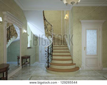 Spiral staircase in art deco hallway. Dark handrails and light wood stairs. 3D render