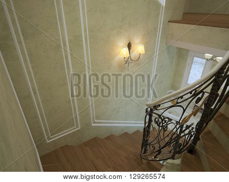 Spiral staircase in luxury house classic style. Plaster textured walls with frame molding white color. Single sconce dark handrails. 3D render