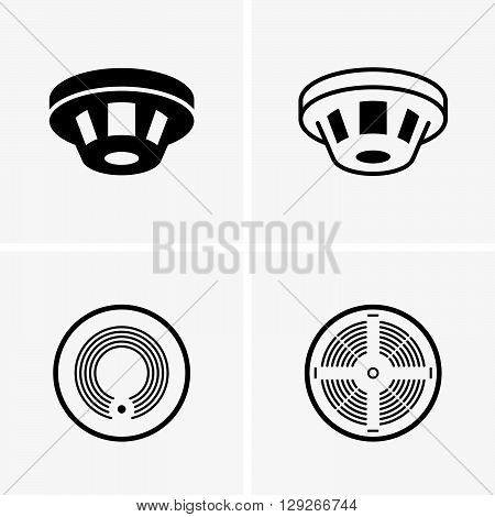 Smoke detectors ( shade pictyures ) on grey background