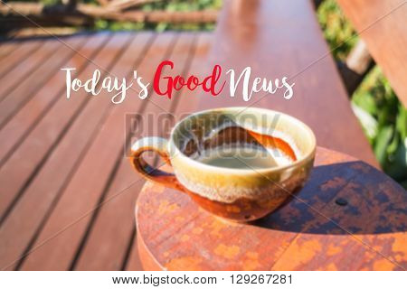 Morning cup of coffee background with inspiration quote stock photo