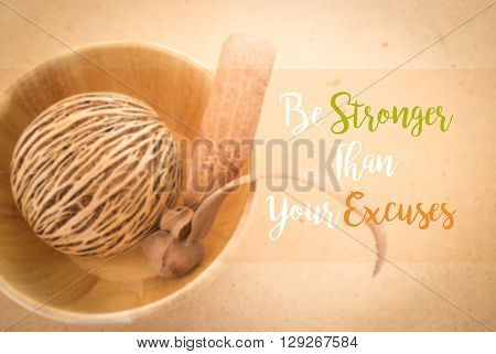 Motivation quote on two-winged Dipterocarpus background stock photo