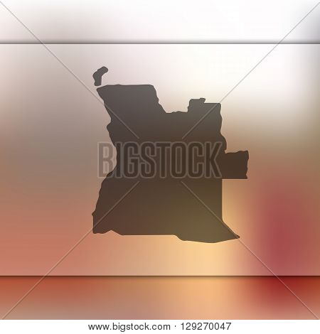 Angola map on blurred background. Angola vector map. Blurred background with silhouette of Angola.