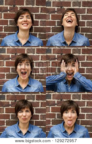 Multiple portrait of a same woman with diferente expresisons