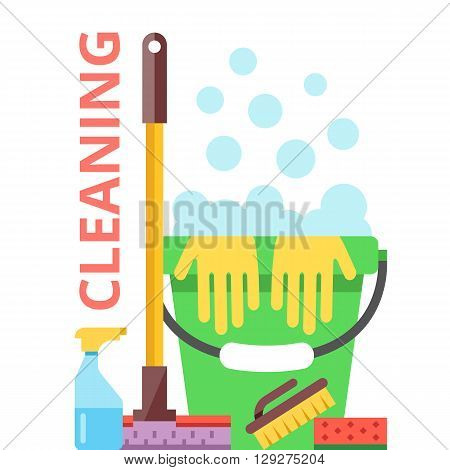 Cleaning flat illustration. Spring cleaning and cleaning service concept. Modern flat design concept for web banners, web sites, printed materials, infographics. Creative flat vector illustration