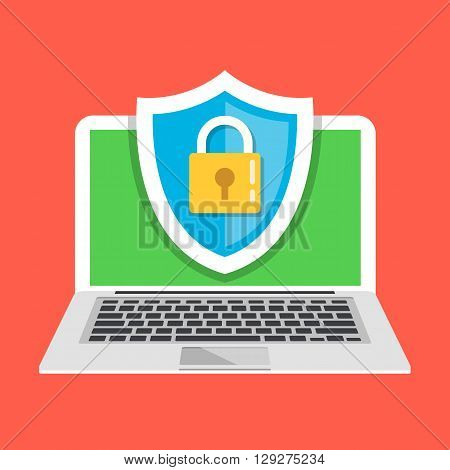 Computer protection. Creative flat illustration and flat design graphic concepts for websites, web banners, web and mobile apps, infographics, printed materials. Front view. Modern vector illustration