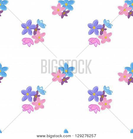 Stylish floral seamless pattern with forget-me-not. Small forget me not flowers.