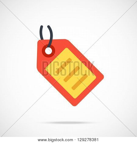 Vector tag icon. Flat tag icon. Flat design vector illustration concept for web banners, web and mobile apps, infographics. Label icon graphic. Vector icon isolated on gradient background