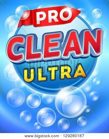 Detergent packaging vector template design. Brand detergent powdery, label detergent cleaner, sample detergent cardboard illustration poster