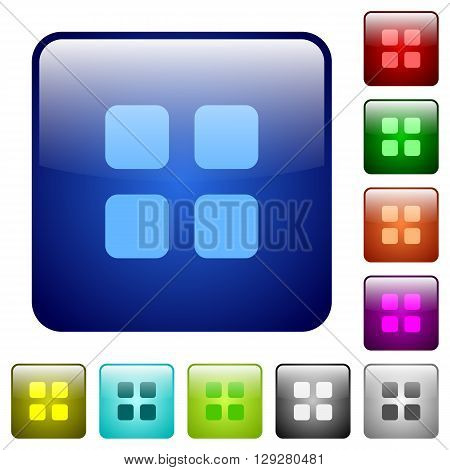 Set of color large grid view glass web buttons.