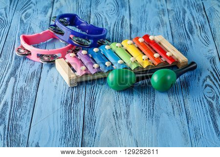 Baby Musical Instruments Collection Maracas, Xylophone And Tambourine