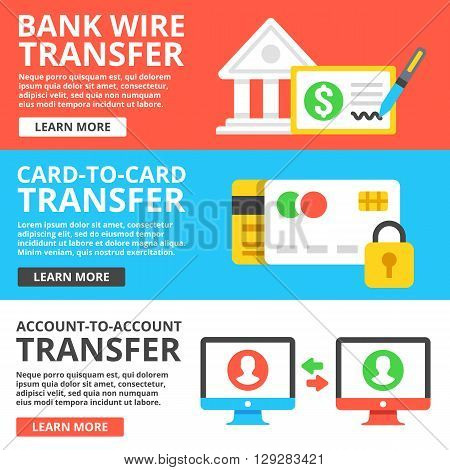Bank wire transfer, card to card transfer, account to account transfer flat illustration set. Flat design concepts for web banners, web sites, printed materials, infographics. Vector illustration