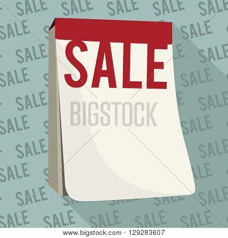 Sale design in form of tear-off calendar. Vector illustration.
